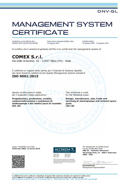 Certificato 2018